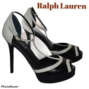 Ralph Lauren Black/White Leather Heels Platform
